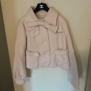 Jackets & Blazers - White bow coat